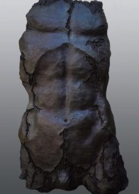 Birch bark. A bronze resin cast sculpture of a male torso as if made from the bark of a birch tree.
