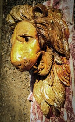 Golden lion statue, Ashburton. Restoration, showing the original 200 year old lion's head with newly carved replacement sections.