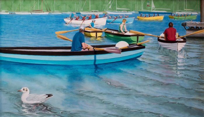 town river scene with black headed gull